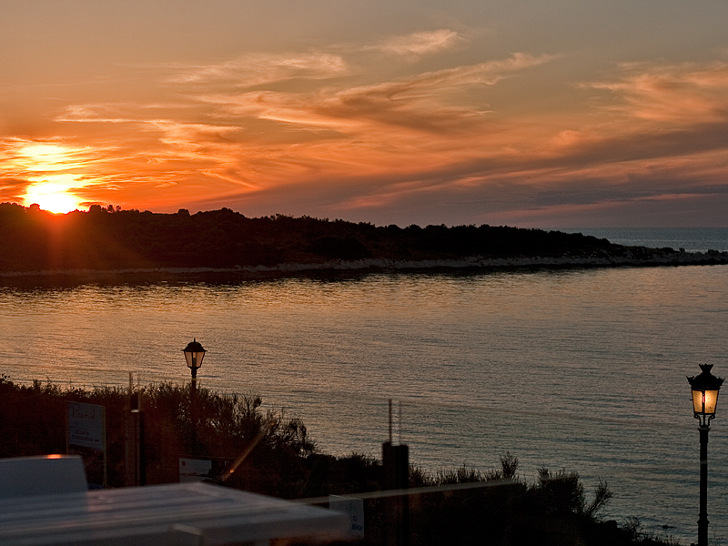 Sun Setting in the evening at Mareblue resort in Corfu, Greece taken by Michael Common