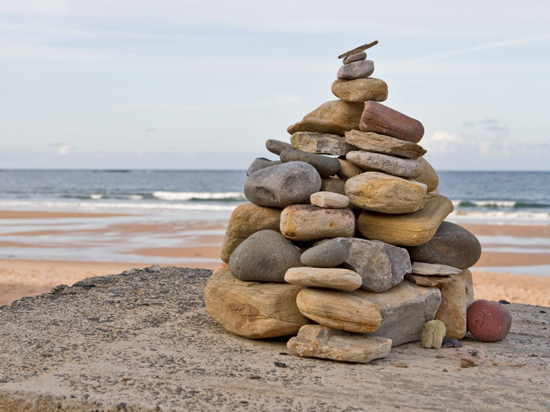 Pile of stones at Dunstan beach
